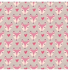 Fox with heart seamless pattern vector