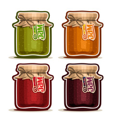 Fruit jam in glass jars vector