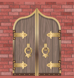 Gold castle gate vector