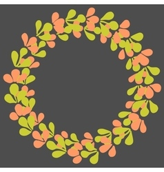 Green and pink laurel wreath frame vector
