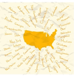 Hand drawn usa states on crumpled paper vector
