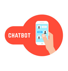 hand holding phone with chatbot vector image