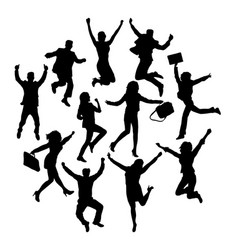 Happy jumping business silhouettes vector