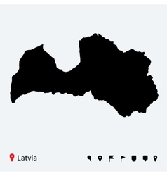 High detailed map of Latvia with navigation pins vector image