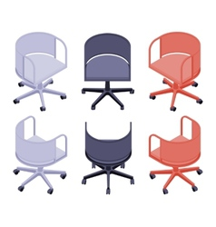 Isometric office colored chairs vector image