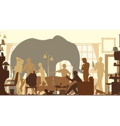Living room elephants vector image vector image