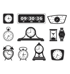monochrome of different clocks vector image vector image
