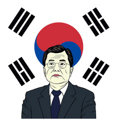 moon jae-in president of south korea with flag vector image vector image