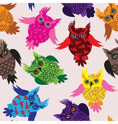 Owl bird seamless icon detail background vector