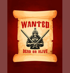 poster wanted dead or alive medieval knight vector image