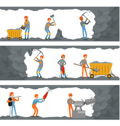 professional miners working in a mine coal vector image vector image