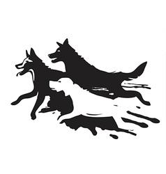 Running dogs vector