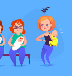 Sad mother with a crying child in a queue vector