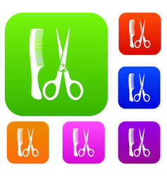 Scissors and comb set collection vector