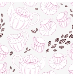 Seamless pattern with hand drawn tea porcelain vector