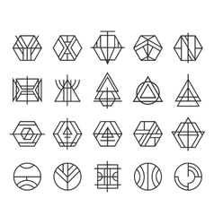 set of abstract linear hipster logos vector image vector image