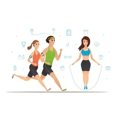 Sport cartoon characters collection vector image