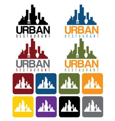 Urban restaurant concept and icon set vector