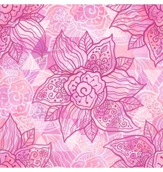 Vintage ornate pink flowers vector image