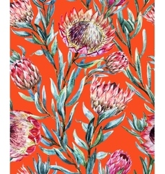 Watercolor tropical protea pattern vector image
