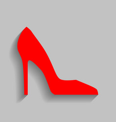 Woman shoe sign red icon with soft shadow vector