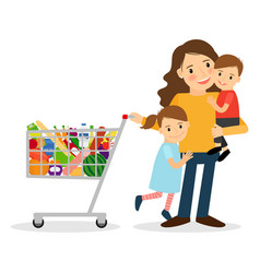 woman with kids and shoping cart vector image