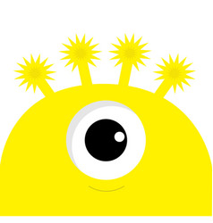 yellow monster head with one eye funny cute vector image vector image