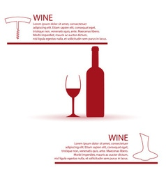 Wine bottle and glass simple red infographics vector