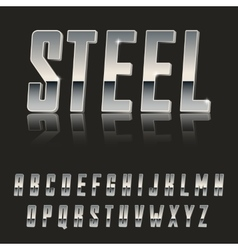 Steel chrome letters typeface made of steel modern vector