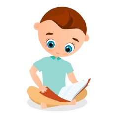 Young boy reading a book sitting on the floor vector