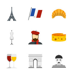Welcome to france icons set flat style vector