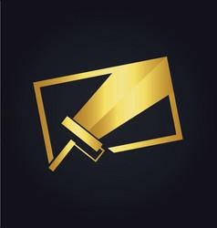 Paint gold canvas logo vector