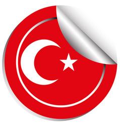 Sticker design for turkey flag vector