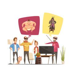 Family hobbies design concept vector