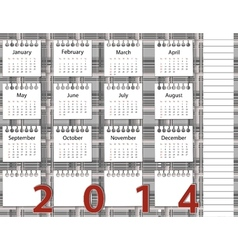 2014 year calendar on the background pattern in vector image