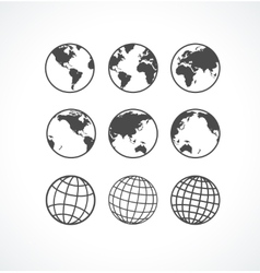 Vecrot globe icon set vector image