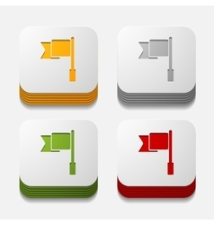 Square button flag vector