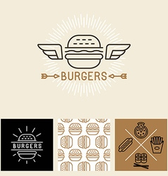 Burger logo design elements and package template vector