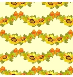 Sunflower and bow seamless pattern bacground vector