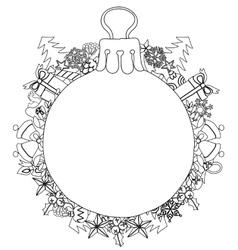 Hand drawn christmas glass ball fir tree doodle vector