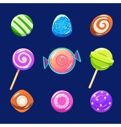 Colorful glossy candies with sparkles vector