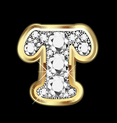 Letter t gold and diamond vector