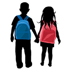 back to school kids silhouette vector image