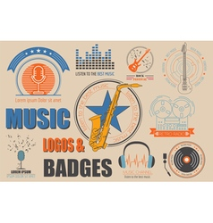 Musical instruments logos and badges graphic vector