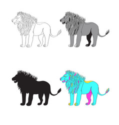 a lion black-and-white vector image vector image