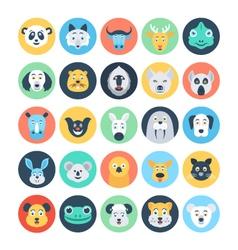 Animal avatars flat icons 4 vector