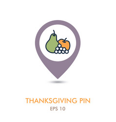 Apple grapes and pear mapping pin icon harvest vector