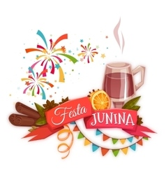 Banner with red ribbon and quentao for Festa vector image vector image