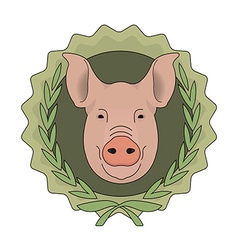 Butchery eco logo pig head in laurel wreath green vector