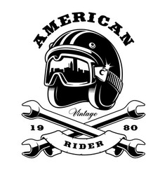 Cafe racer helmet with wrenches on white vector